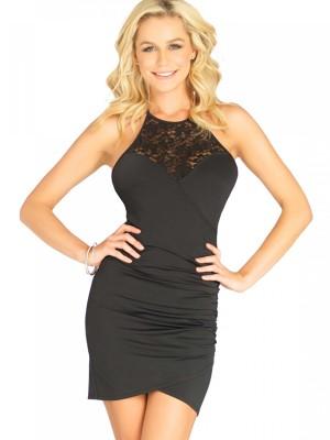 LA86619-Fekete színű ruha csipkével