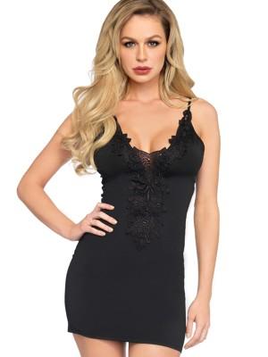 LA86637-BLK-Fekete színű csipkével díszített ruha