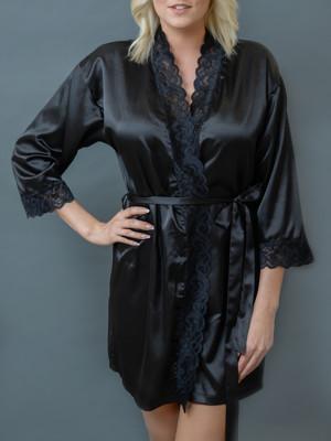 MMSZK20-BLK-Fekete szaten kimono csipkeszegellyel