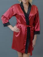MMSZK1-BDX-Bordo szaten kimono, fekete csipkevel