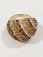 2-Nemesacél gyűrű arany kövekkel