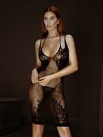 LA86064-BLK-Fekete színű csipkés ruha