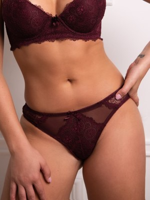 Cute as burgundi csipkés bikini bugyi