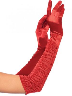 Piros húzott rugalmas szaténkesztyű