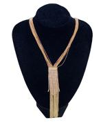 0008-Arany hosszú strasszos nyaklánc