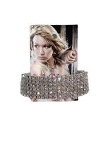 0005-Ezüst strasszos gumis karkötő