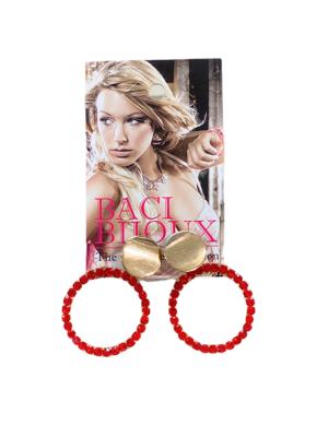 0006-Piros strasszos fülbevaló