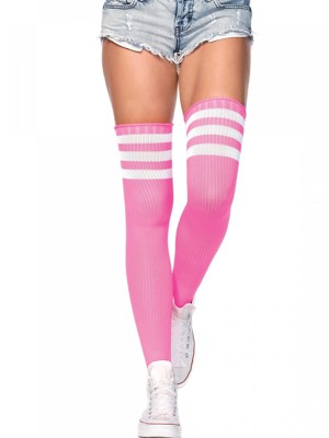Neon pink bordázott combzokni