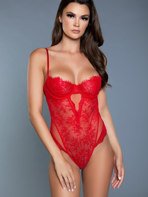 Ariel piros csipkés balconette body