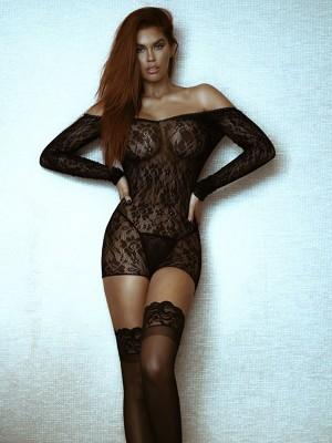 LA89163-BLK-Fekete színű csipkés női body