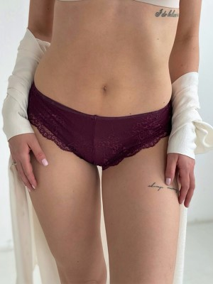 Dita burgundi extra csipkés brazil tanga