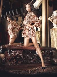 Párduc-mintás szatén-kimonó