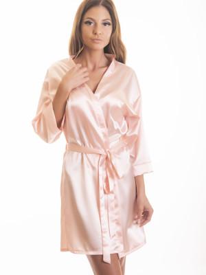 Rózsaszín szatén kimonó